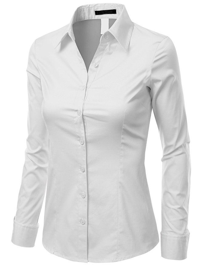 Doublju women comfortable 3 4 sleeve slim fit button down for Womens white button down shirt