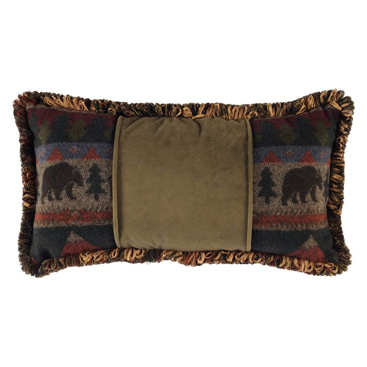 Wooded River Cabin Bear WD1557 Decorative Pillow - WD1557