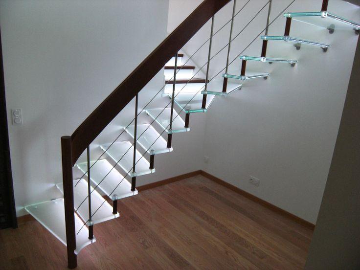 26 best images about escalier en verre glass staircase on pinterest staircase design custom. Black Bedroom Furniture Sets. Home Design Ideas