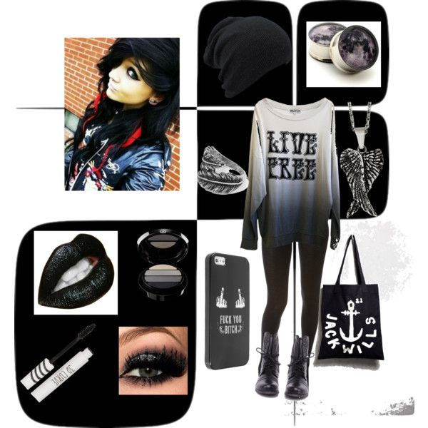 """""""Outfit1"""" by fallonmariesnow on Polyvore made by meee!! clothes clothing winter cold weather sexy hot scene indie gothe girl scene girl dark black  emo"""