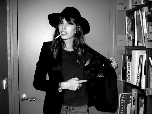 Lou Doillon's Tom Ford jacket at the Purple office in Paris by editor Olivier Zahm.