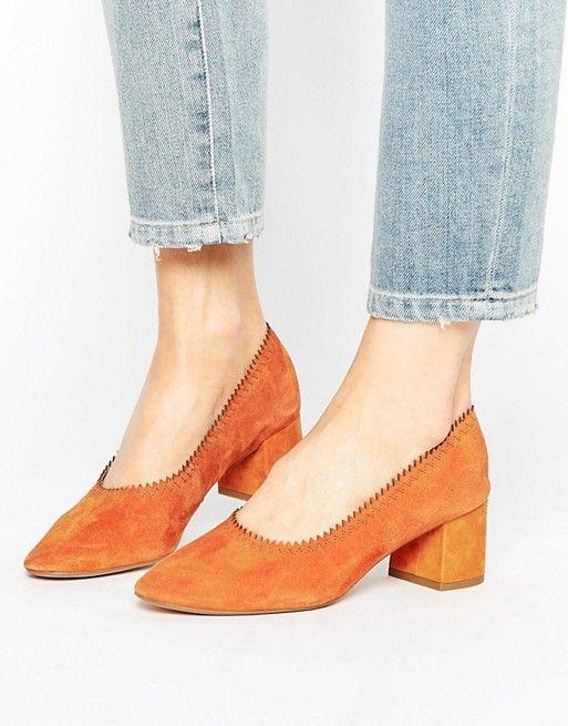 Mango Trim Detail Block Court Heel in orange at asos