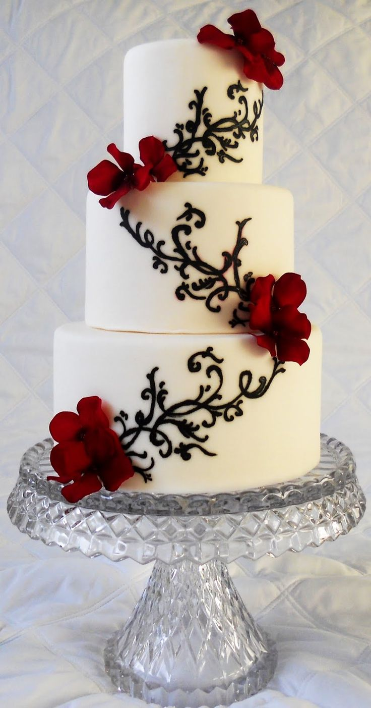 black and white and red wedding cakes | Black+and+white+wedding+cake+with+red+hydrangias.jpg
