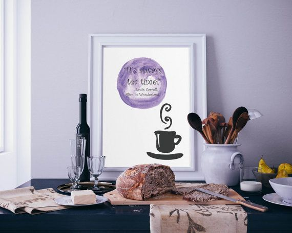 Its always tea time-quote-watercolor-instant by GulmoharGraphics
