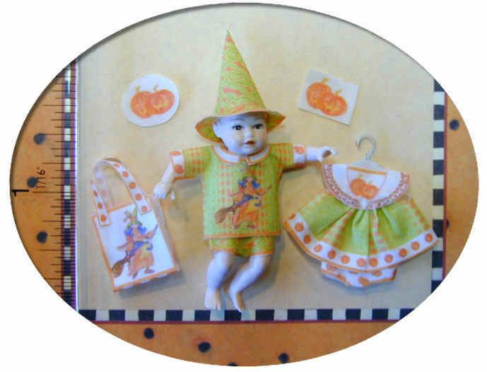 Dollhouse Miniature Newborn Panel, Wee Baby Witch Costume Kit