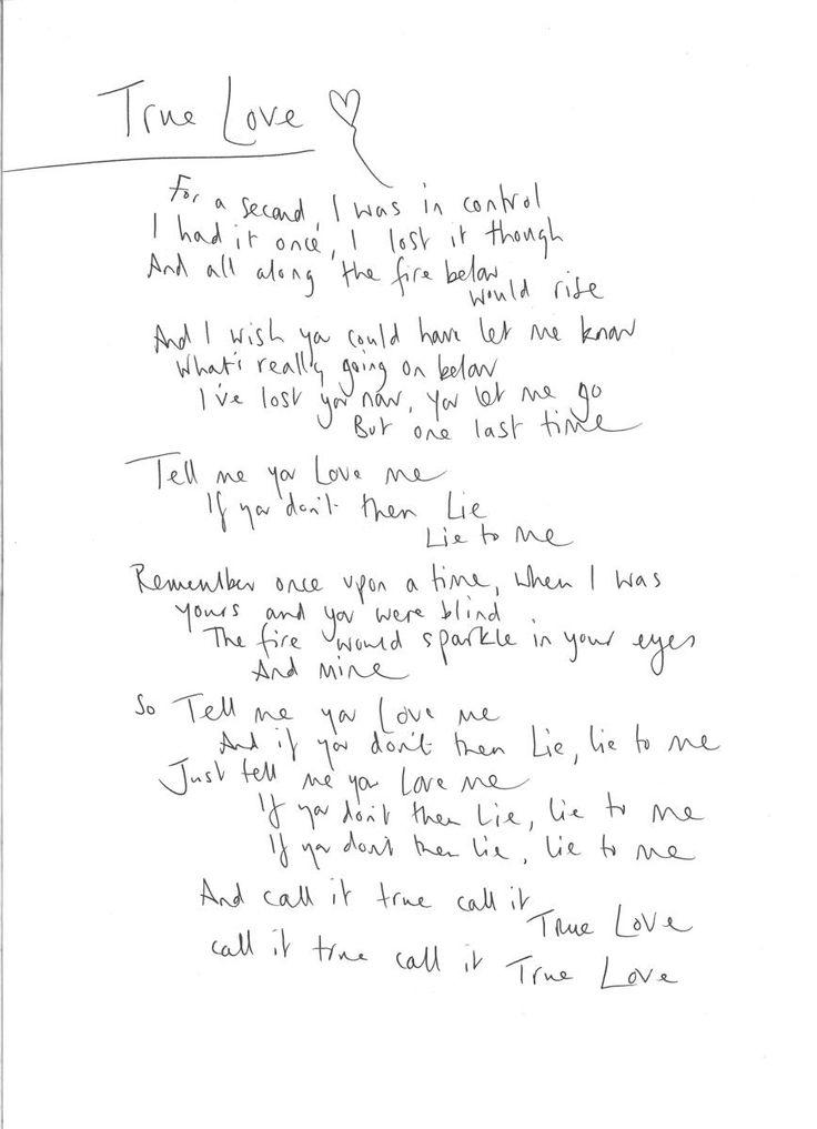 True Love - C's handwritten lyrics