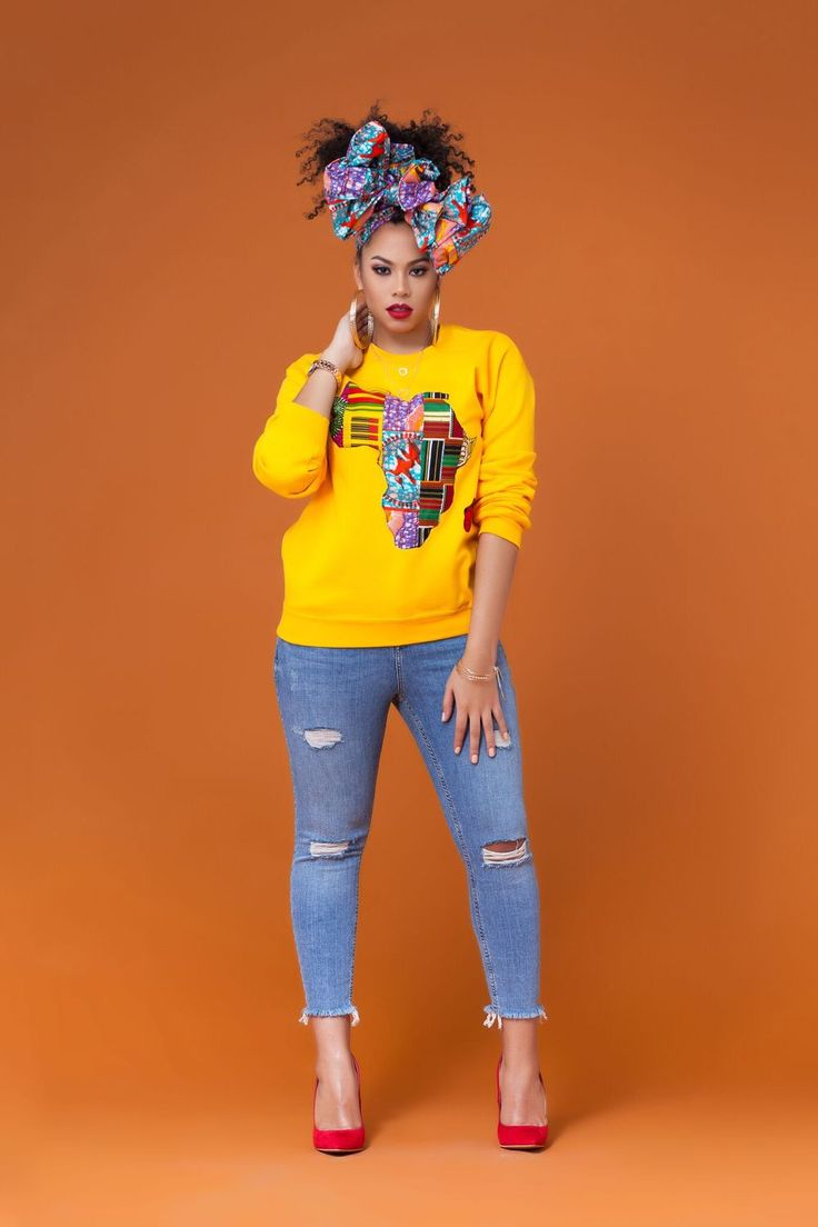 Yellow African Print Sweatshirt| Grass-fields|  team with your favourite heels for a smart evening look.