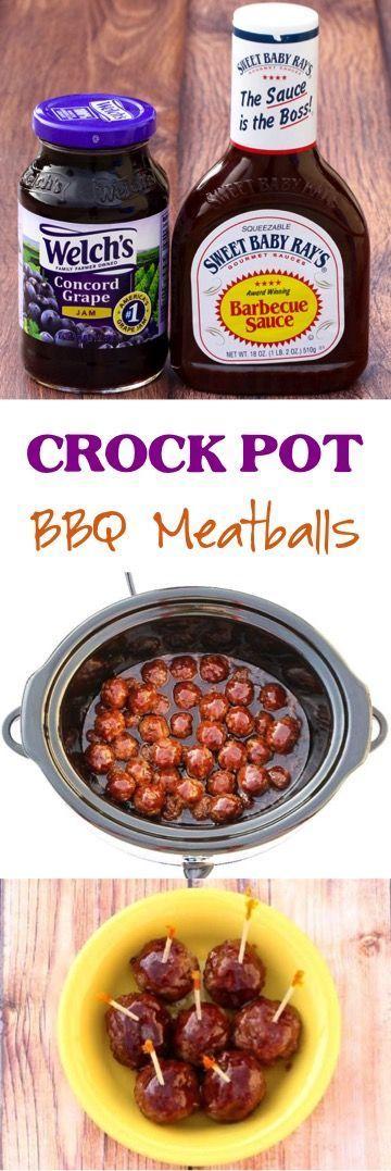 Easy Crock Pot Barbecue Meatballs Recipe!  Just 3 ingredients! ~ from NeverEndin… –  #barbe…