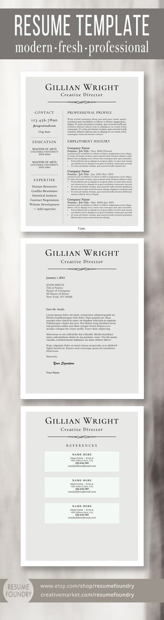 Elegant resume template package. Includes one, two or three page resume  template, cover
