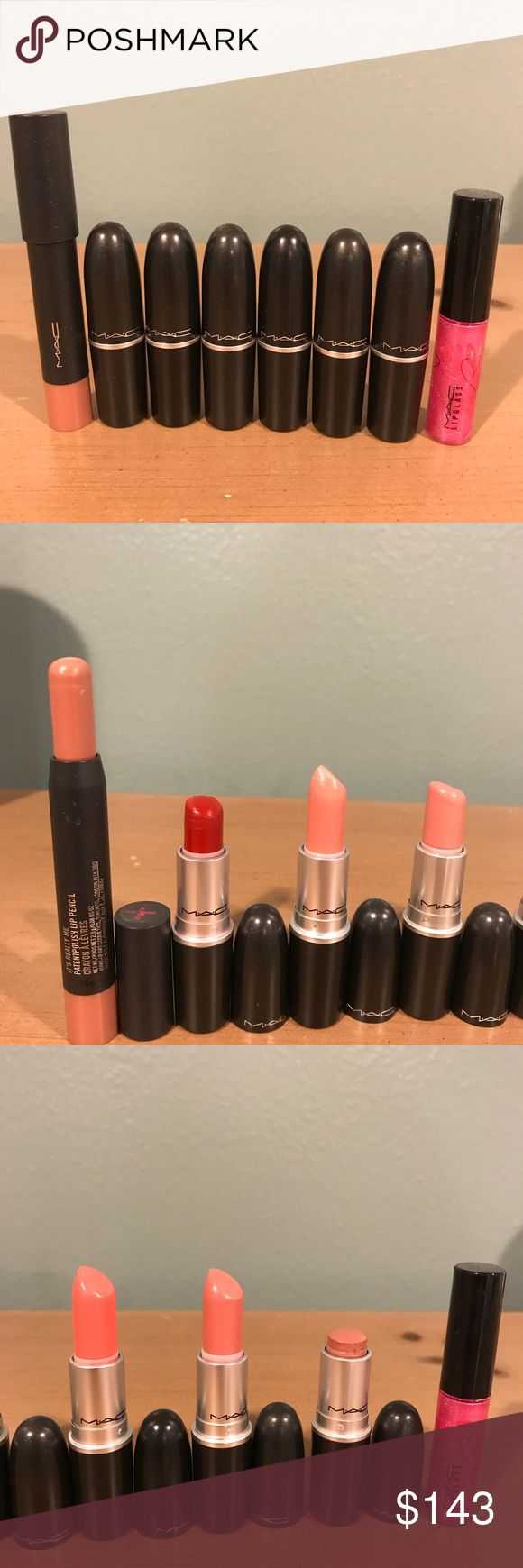 MAC Lipstick Bundle This listing is for 8 Mac Cosmetics lip products. 100% authentic, selling because I hardly wear makeup. 6 Lipsticks, retail $17.50 each, 1 lipglass, retails $17, and 1 patentpolish lip pencil, retails $21. Bundle value $143. Colors are it's really me, viva glam, modesty, peach blossom, coral bliss, creme cup, give in, MAC red. Modesty, lipglass, MAC red have significant use, others have been hardly used. Pics 2/3 show product left. Please ask any questions prior to…