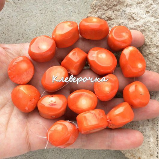 Для украшений ручной работы. Ярмарка Мастеров - ручная работа. Купить Коралл рубка натуральный крупные бусины для украшений. Handmade.