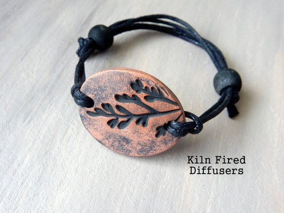Essential oil diffuser bracelet terracotta waxed lava beads kiln fired clay jewelry eco-friendly natural hypoallergenic boho earthy gift