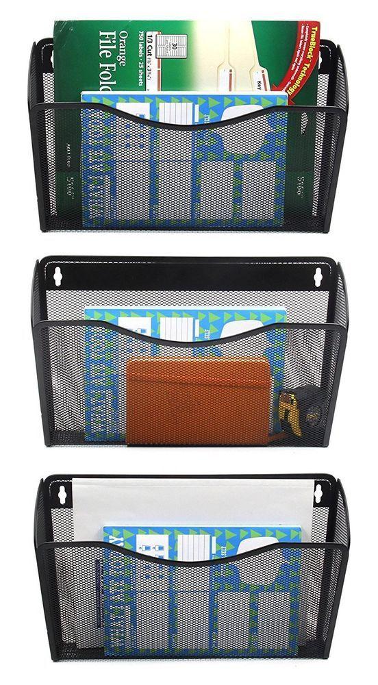 Wall Mount File Organizer Pocket Hanging Folder Storage Office 3 Pack  Holder #EasyPag