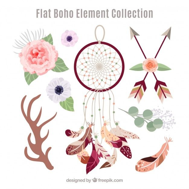 Download Boho Element Collection With Flat Design For Free Boho Elements Vector Free Boho Wreath