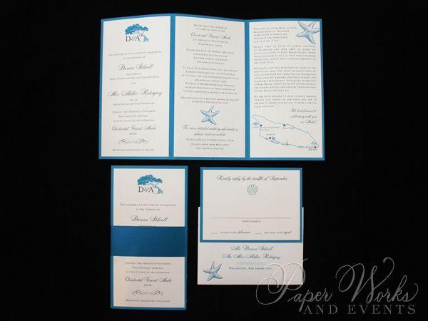 Trifold Wedding Invitation For Destination In Aruba Featuring Arubas Famous Divi Trees Of