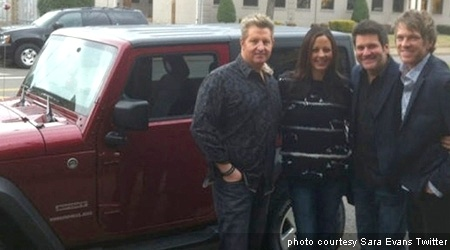 The Flatts give tour-mate Sara Evans a Tide style Jeep Wrangler...what a bonus!