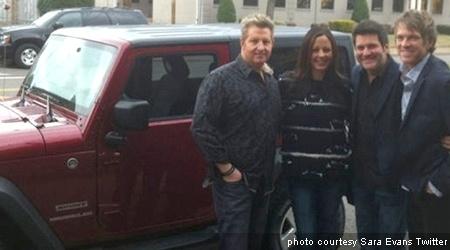 The Flatts give tour-mate Sara Evans a Tide style Jeep Wrangler...what a bonus!