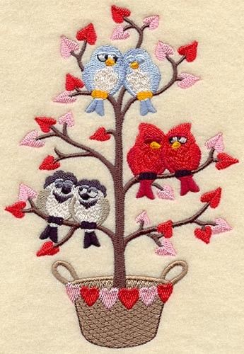 Valentine Birds in a Tree. Embroidered Quilt Block Square