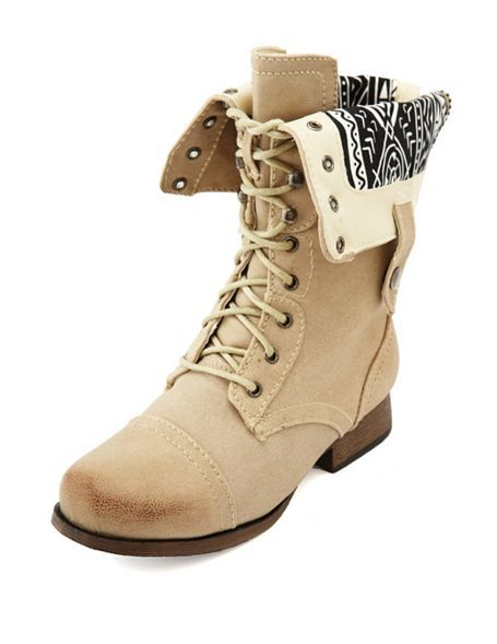 Distressed Zip-Back Combat Boot: Charlotte Russe. I kinda want a pair if combats. They're pretty useful
