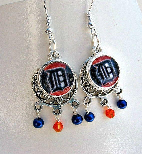 MLB Detroit Tigers Baseball Earrings by SportsJewelryStudio on Etsy.  etsy.com/shop/sportsjewelrystudio.  $16.50.