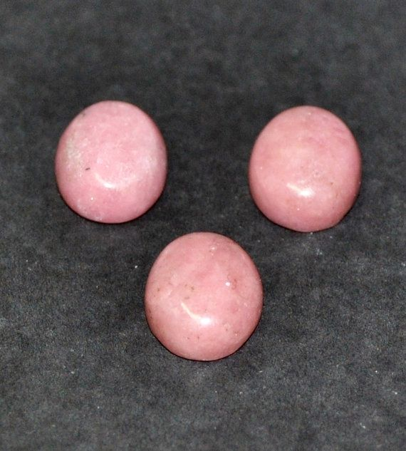Natural Rhodonite Oval Cabochons  3 pcs Parcel  10.0 x 8.0 x 4.0 mm by AliveGems, $7.50