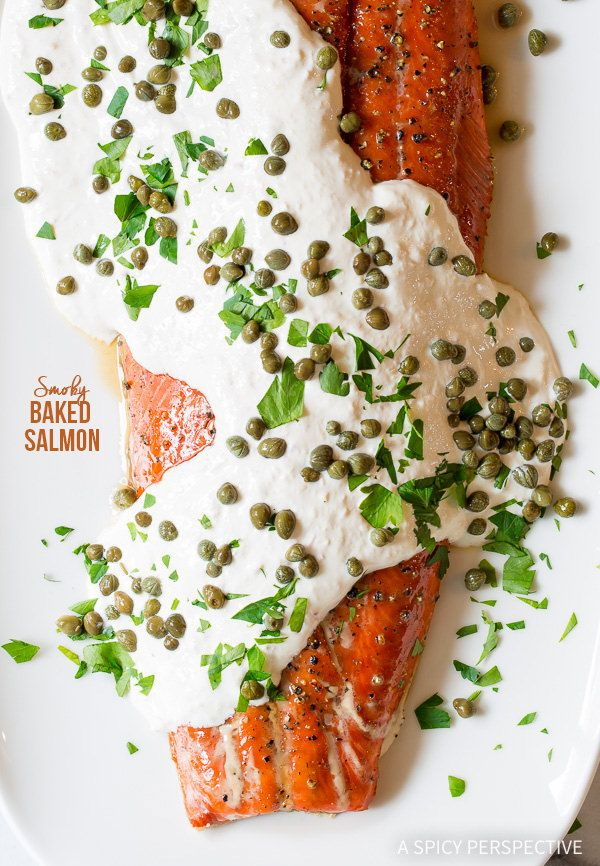 Retro Recipe: 10-Ingredient Smoky Baked Salmon Recipe with Creamy Horseradish Sauce on ASpicyPerspective.com #holiday