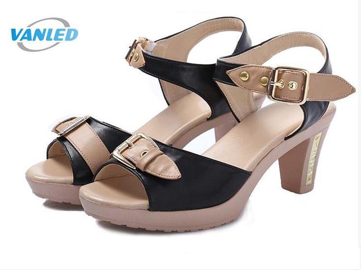 Nueva auténtico verano mujeres sandalias zapatos 2017 de espesor con sandalias oL de Corea del verano de gran tamaño zapatos de las mujeres sandalias de cuero Genuino en Sandalias de las mujeres de Zapatos en AliExpress.com | Alibaba Group