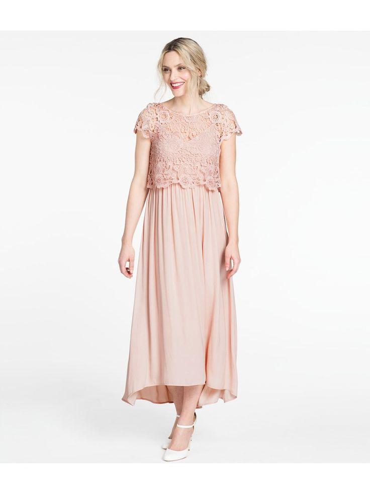 Rosa långklänning med överdel i spets - Dam - Shoppa enkelt online hos KappAhl