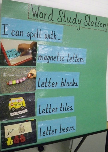 "Word Study Station ""I can"" list. Love this because it give the kids the power to pick what way they want to do it!"