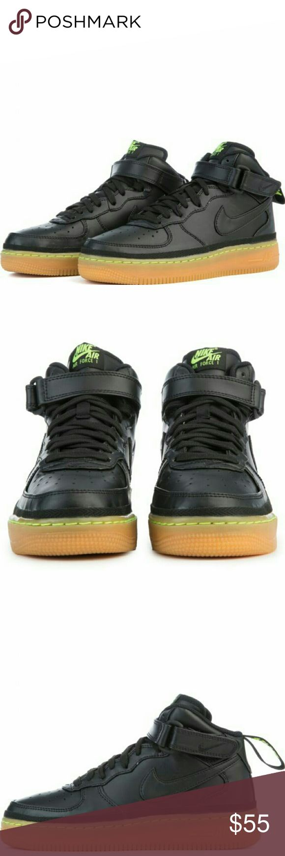 NEW Nike  Air Force 1 Mid LV8 Black/Lime Green/Gum NEW Nike  Air Force 1 Mid LV8 Black/Lime Green/Gum  Nike Air Force 1 Mid LV8 Big Kids' Shoe updates a hoops original with a premium leather and canvas upper and provides lightweight cushioning with an Air-Sole unit. Leather and canvas upper for durability and comfort Ankle strap for stability PU midsole with encapsulated Air-Sole unit for lightweight cushioning Rubber outsole for traction and durability  Sz. 4Y which equals a women's 6 Boxes…