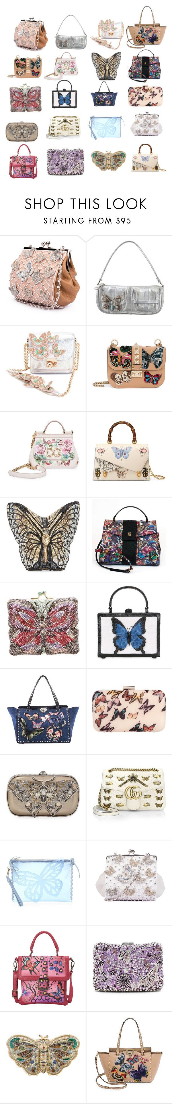 """20 Amazing Butterfly Bags"" by ladyminafashion on Polyvore featuring Valentino, Sophia Webster, Dolce&Gabbana, Gucci, Judith Leiber, Nancy Gonzalez, Ted Baker and Anuschka"