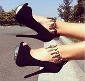 Chic & Fashionable Black Suede Platform Heels