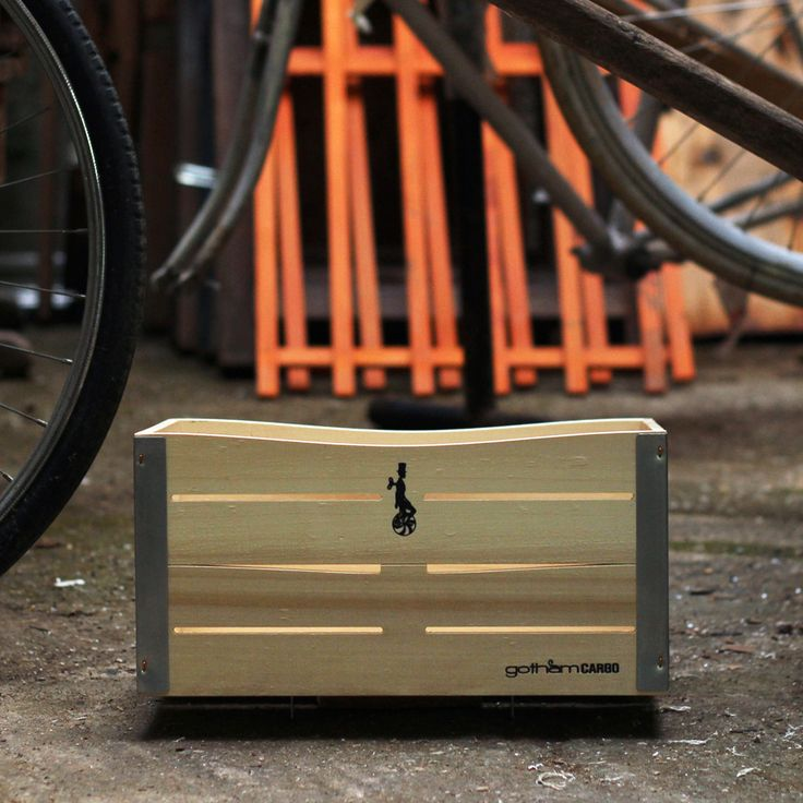 bicycle basket by gothamcargo natural wood color, black logos