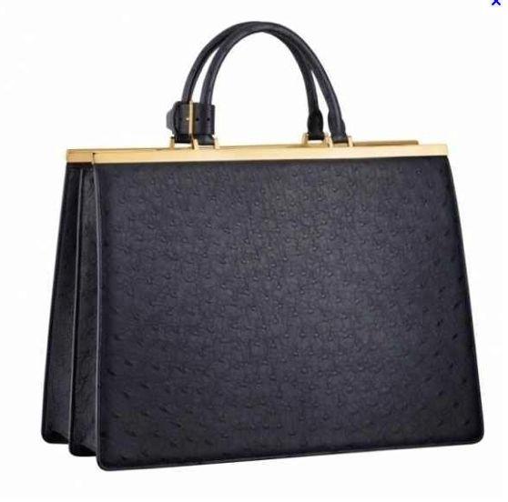 #91759 Louis Vuitton 2013 Monogram Deesse Ostrich GM - Black/Brown