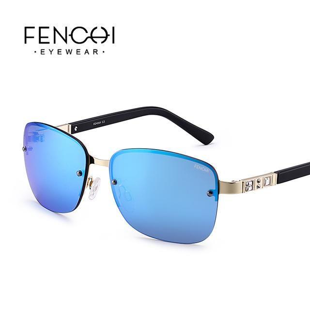 6fbb38de152 Fenchi Sunglasses Women Metal Rimless Driving Diamonds Mirror Square F –  FuzWeb