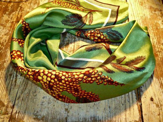 Vintage Australian Souvenir Scarf    Wattle Green   Square  Acetate Satin made in Japan
