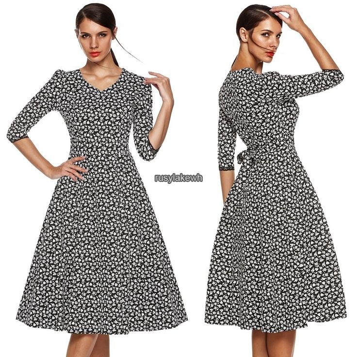 Plus Size Retro Vintage Womens 1950s Rockabilly Formal Swing Evening Party Dress #Unbranded #Sundress #Casual