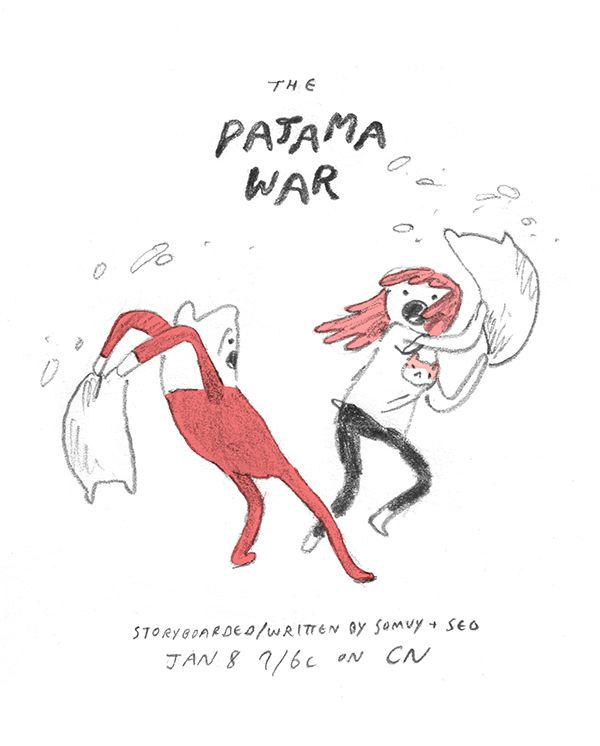 "The Pajama War promo by writer/storyboard artist Seo Kim premieres Thursday, January 8th at 7/6c. seokim: "" New Episode Tonight!!!!!!! """