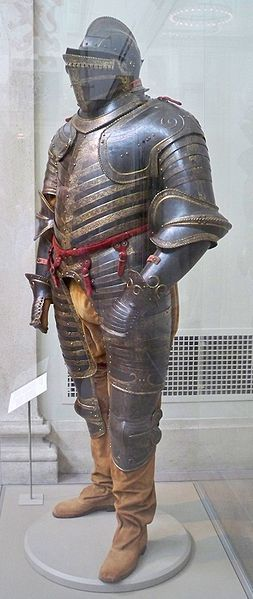 Field armor of Henry VIII of England about 1544...so about three years before his death. Wiki: http://en.wikipedia.org/wiki/File:Henry_VIII_armor_by_Matthew_Bisanz.JPG at the Metropolitan Museum of Art, NYC, USA.