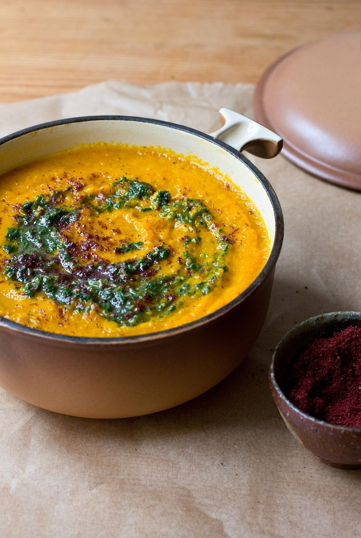 roasted carrot soup with sumac and carrot-green pesto | lucky star anise