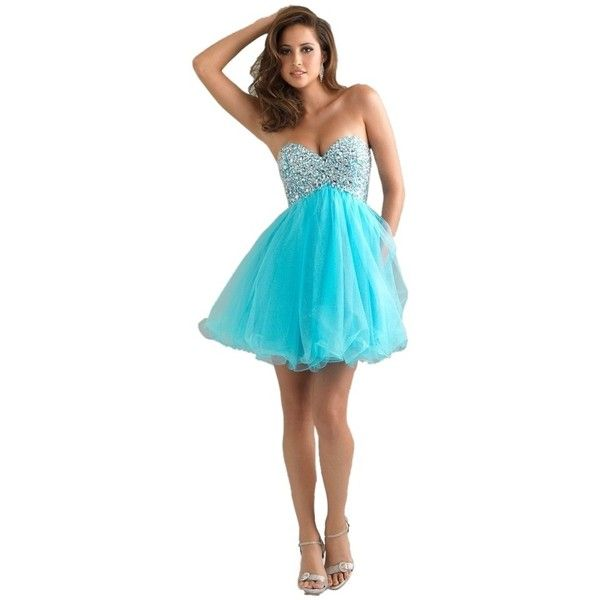 Pre-owned Night Moves Prom Collection Aqua Dress ($129) ❤ liked on Polyvore featuring dresses, aqua, blue homecoming dresses, sequin prom dresses, short sequin dress, prom dresses and short cocktail dresses