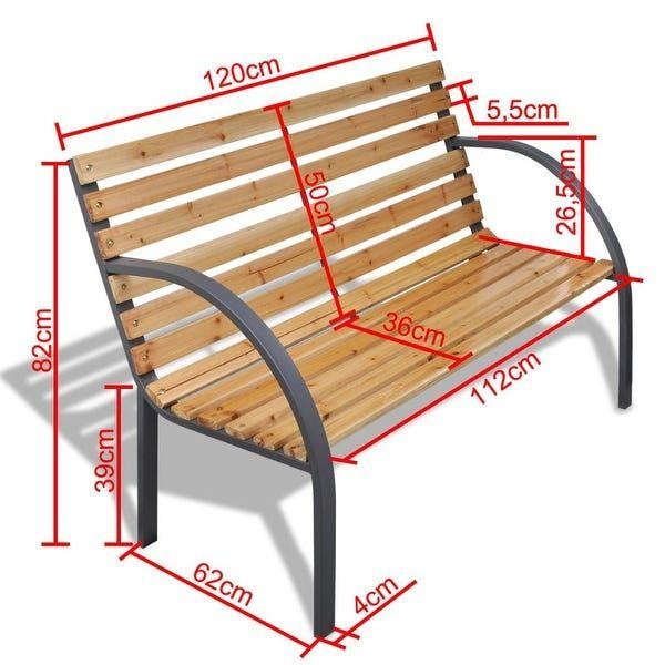 Vidaxl Outdoor Garden Bench Wooden Iron Metal Curved Back Armrests