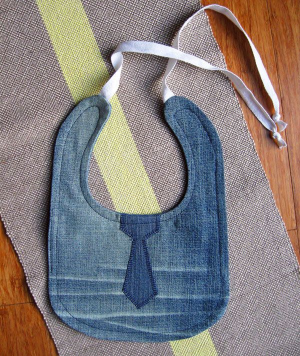 Denim Bibs: Upcycle your jeans into bibs, which are durable and machine-washable. Source: Etsy User GoodDenim