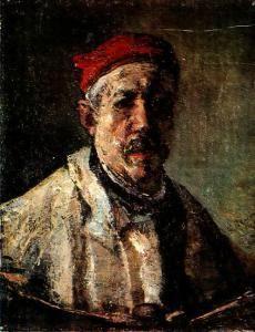 Gheorghe Petrascu - Autoportret cu boneta rosie