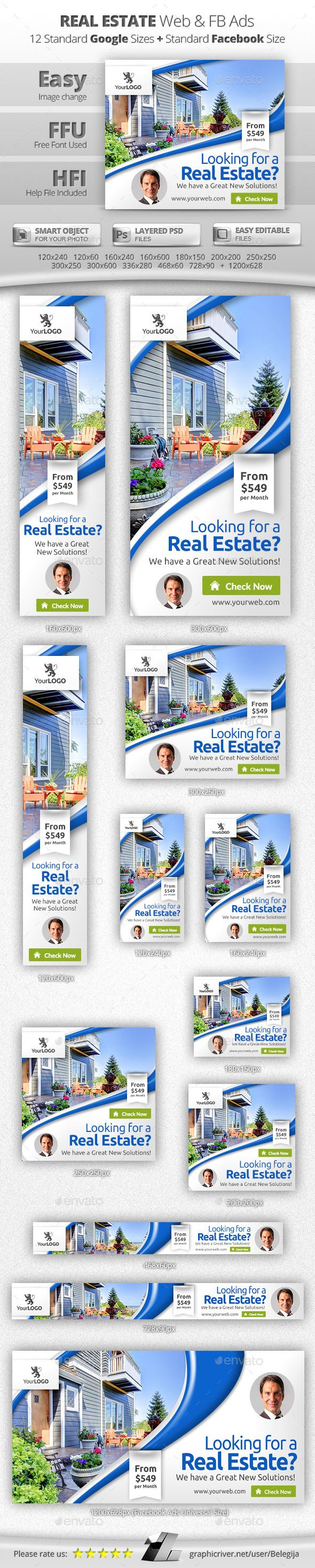 Real Estate Web & Facebook Banners Template #bannerdesign #webbanners Download: http://graphicriver.net/item/real-estate-web-facebook-banners/12773380?ref=ksioks