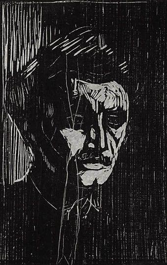 Edvard Munch, self portrait, woodcut