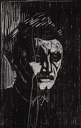 Edvard Munch, self portrait, woodcut
