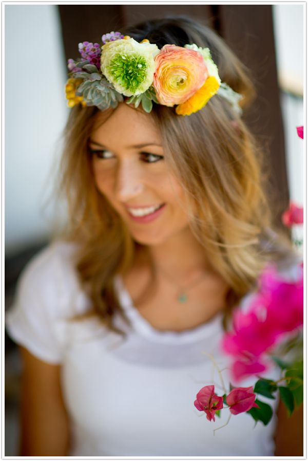 •sturdy base ivy   •thin gauge wire   •flowers, light in weight (small spray roses, ranunculus, berries, scabiosa, wax flower all work beautifully)   •green flower tape       Have fun with your new wreath and keep in mind that these flowers are out of water. Wear it immediately & anticipate a lifespan of about 4 hours.