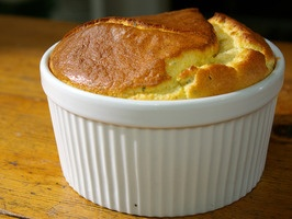 Cheese and Herb Souffle  Recipe courtesy Laura Calder Show: French Food at HomeEpisode   INGREDIENTS  1 cup/250 g milk 1 bay leaf 1/2 small onion, peeled Pinch paprika Grated Parmesan cheese, for dusting the dish 1 1/2 tablespoons butter 1 1/2 tablespoons flour 3 eggs, separated plus 1 egg white 3 ounces/100 g cheese, grated or mashed 1 generous tablespoon chopped fresh herbs Salt and freshly ground black pepper Branch fresh rosemary, cut in 3 RECIPE TOOLS SAVE TO FAVORITES PRINT RECIPE…