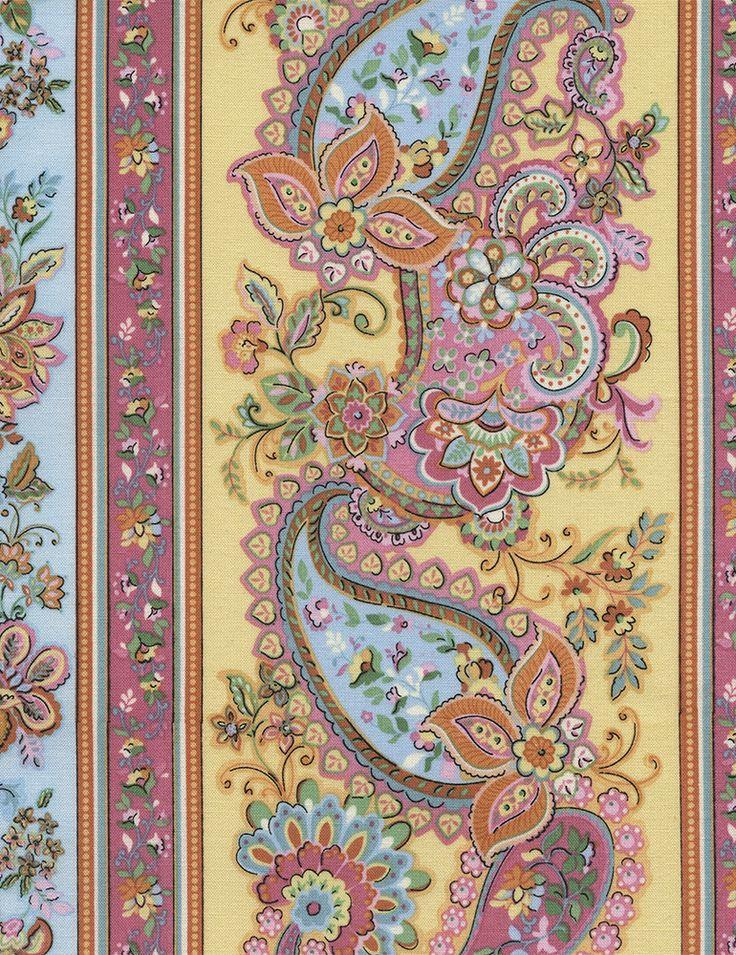 Timeless Treasures Fabrics: Soleil - Paisley Stripe #soleil-c2548-yellow